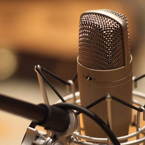 immagine con un microfono in primopiano